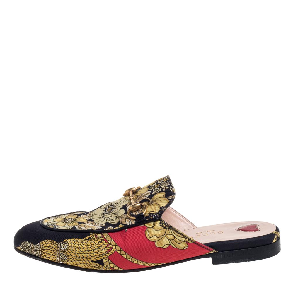 Gucci Multicolor Canvas Princetown Horsebit Mules Sandals Size 36
