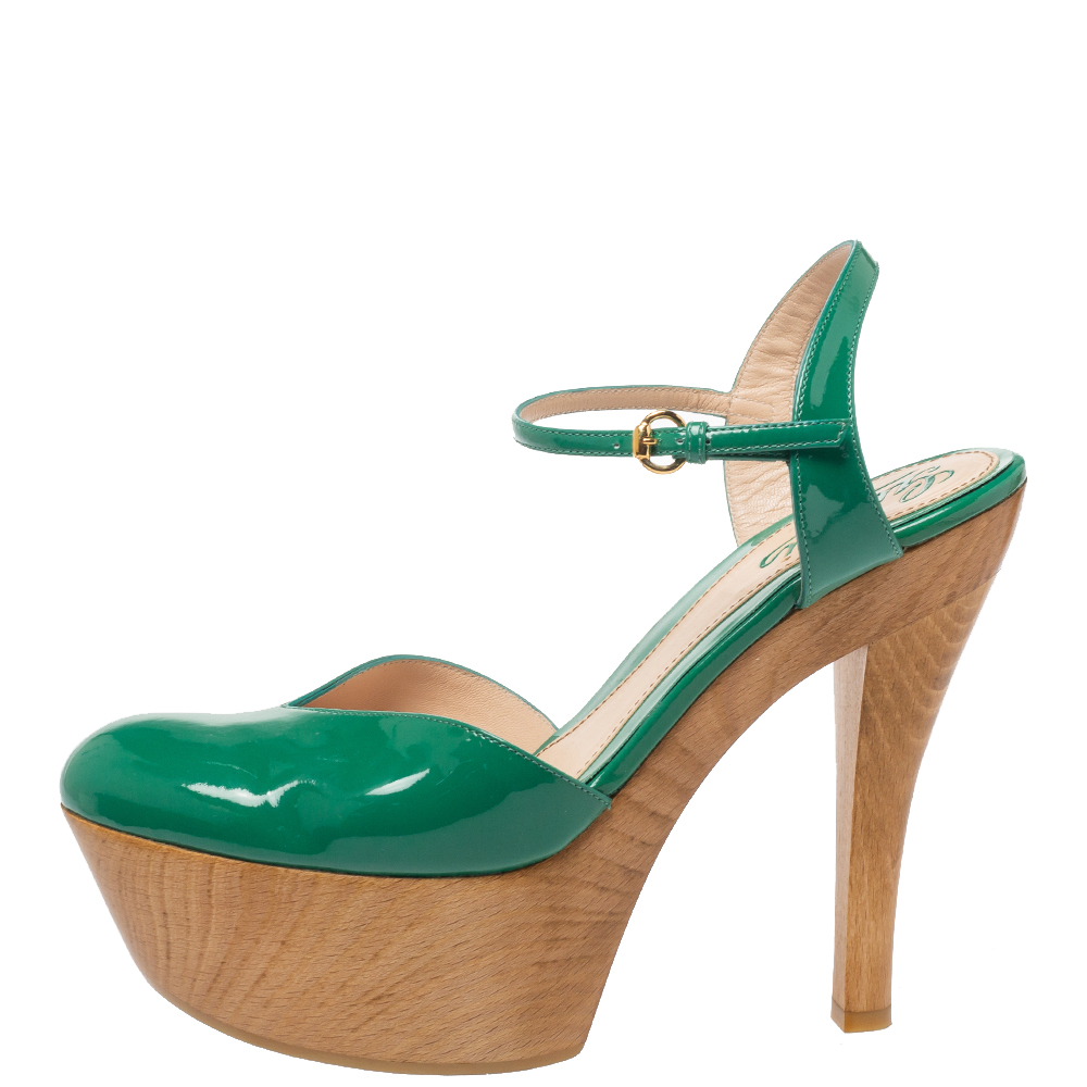 Gucci Green Patent Leather Ankle Strap Wooden Platform Sandals Size 37.5