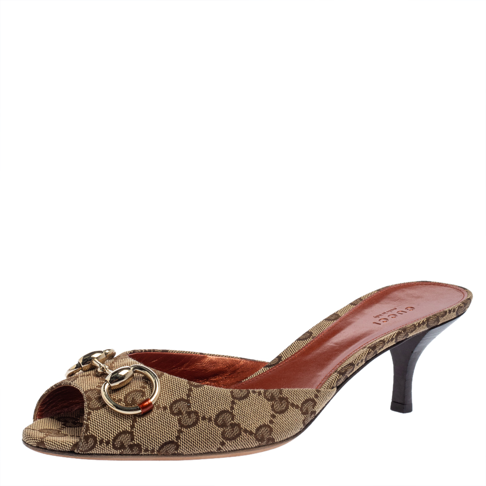 Pre-owned Gucci Brown Gg Canvas Horsebit Slide Sandals Size 41