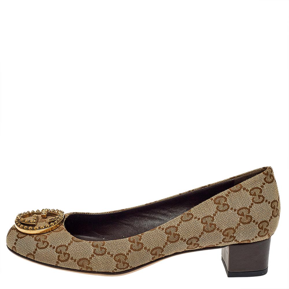 Gucci Beige GG Canvas Interlocking GG Block Heel Pumps Size 36.5