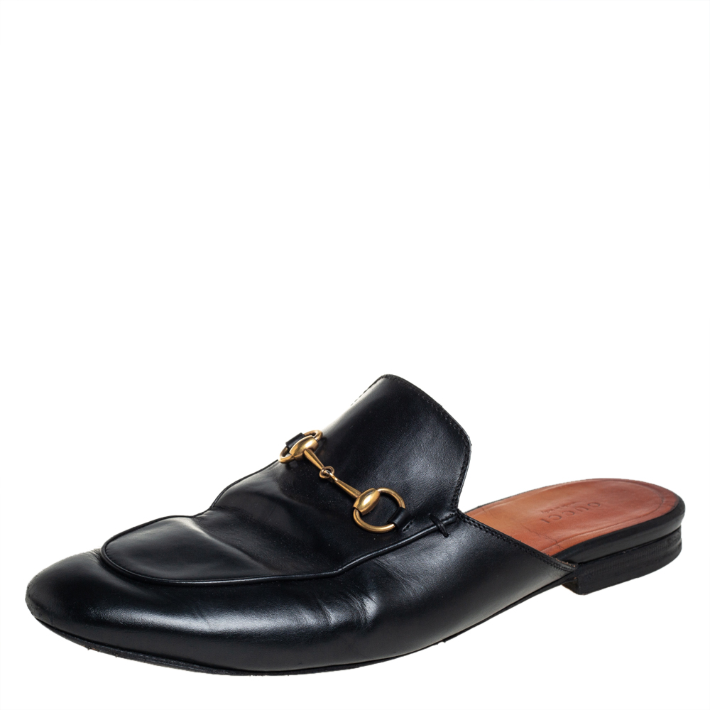 Pre-owned Gucci Black Leather Princetown Sandals Size 41