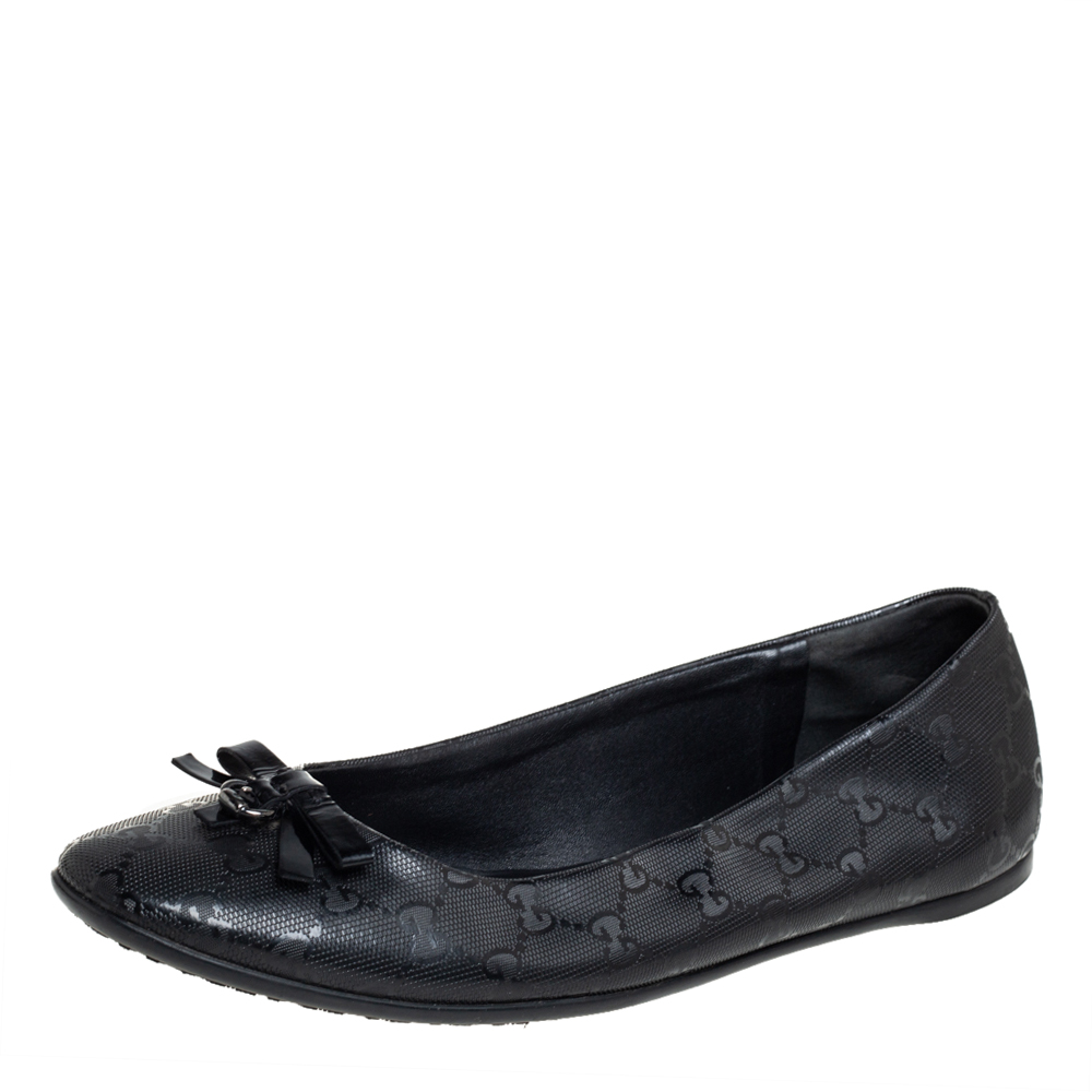Pre-owned Gucci Black Imprime Leather Bow Ballet Flats Size 41