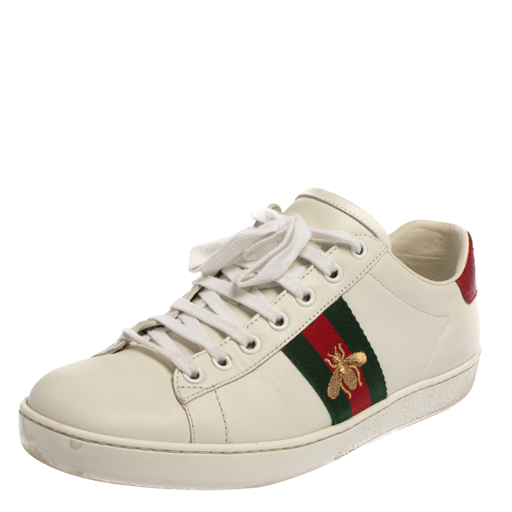 Pre-owned Gucci White Canvas And Leather Ace Sneakers Size 39