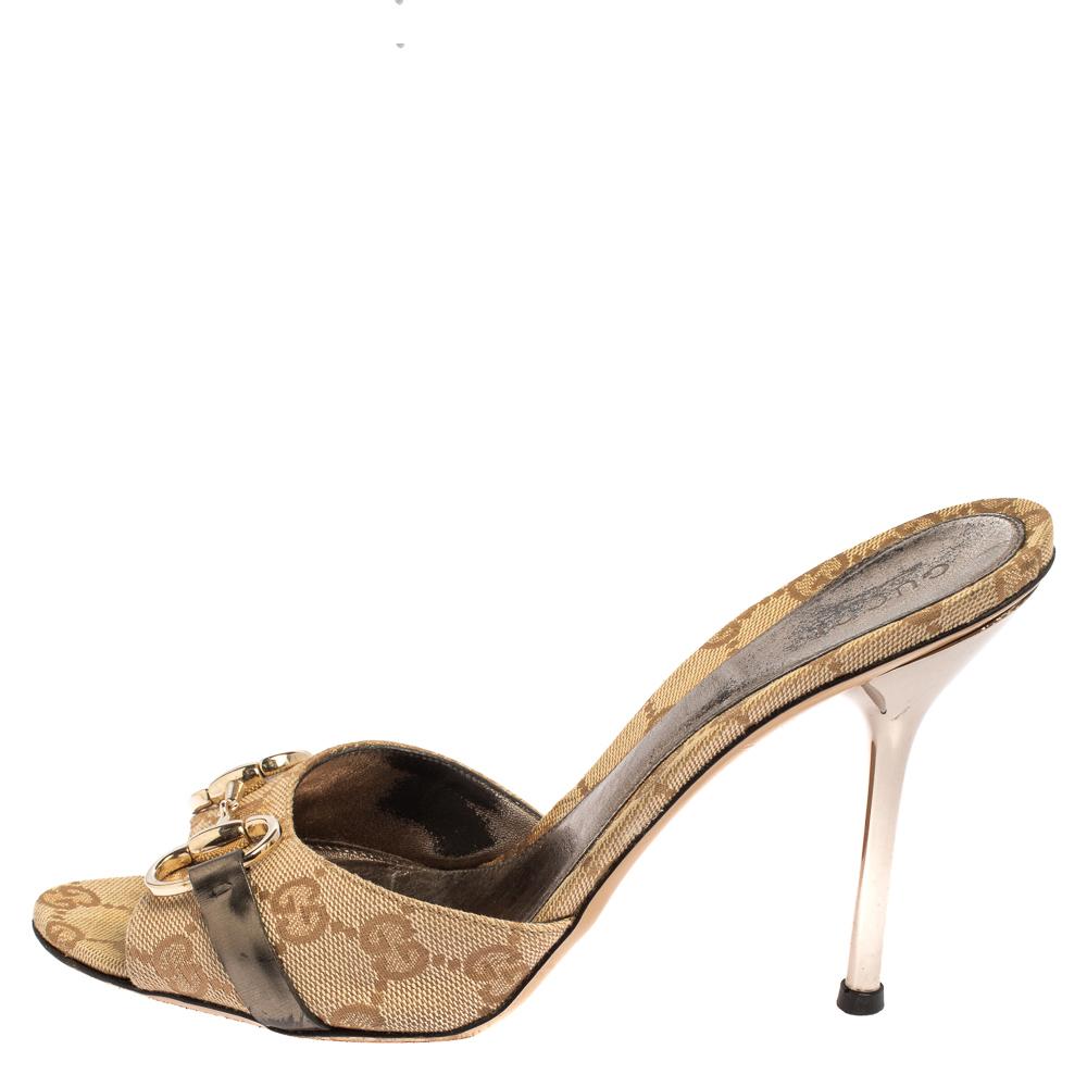 Gucci Beige GG Canvas Horsebit Mules Sandals Size 38.5