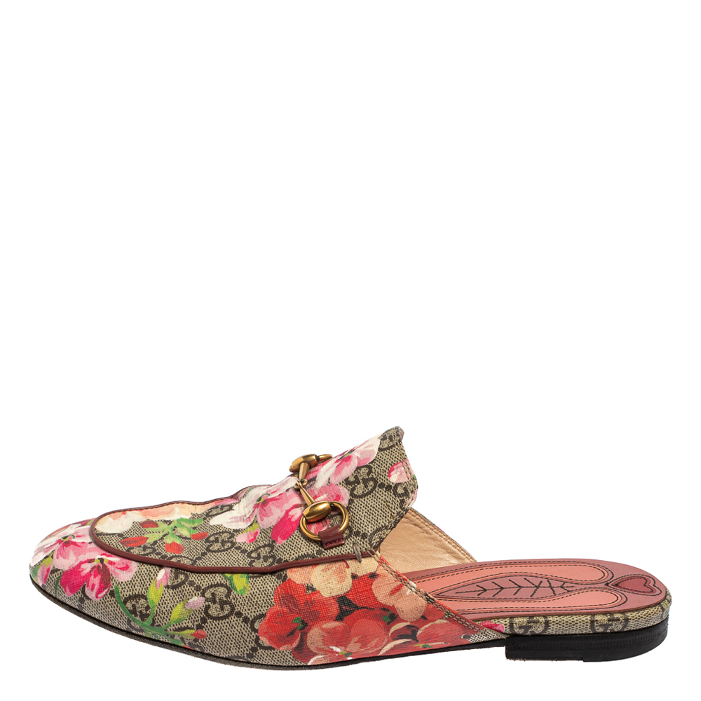 Gucci Beige Blooms Printed GG Canvas Princetown Mules Sandals Size 38