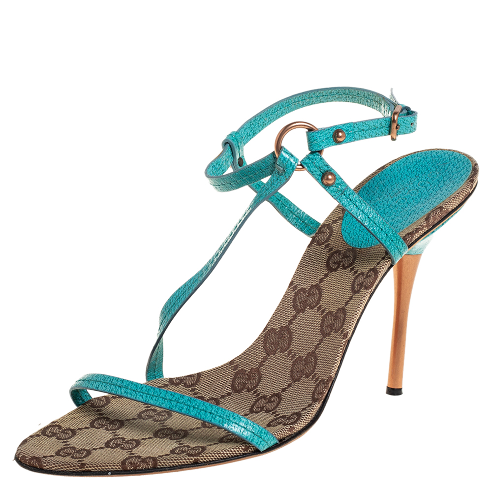 Pre-owned Gucci Blue Leather Slingback Sandals Size 38