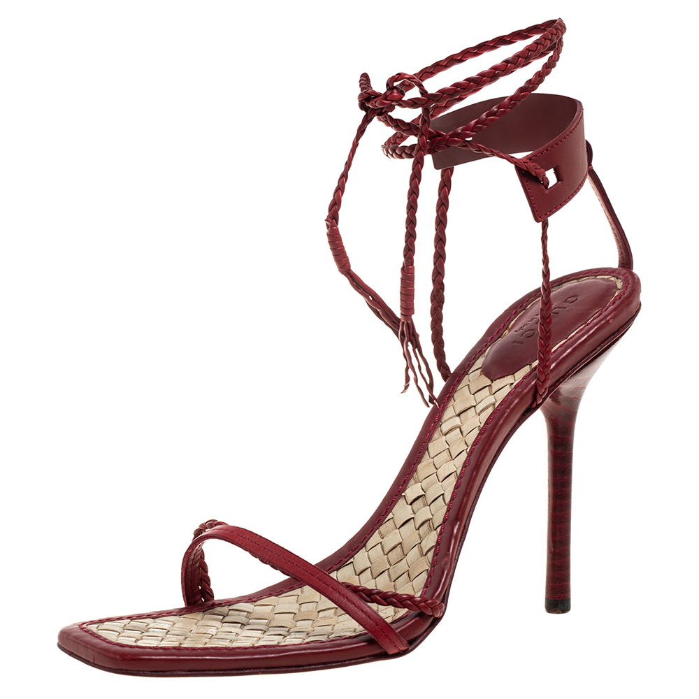 Pre-owned Gucci Red Braided Leather Braided Ankle Strap Sandals Size 37.5 In Burgundy