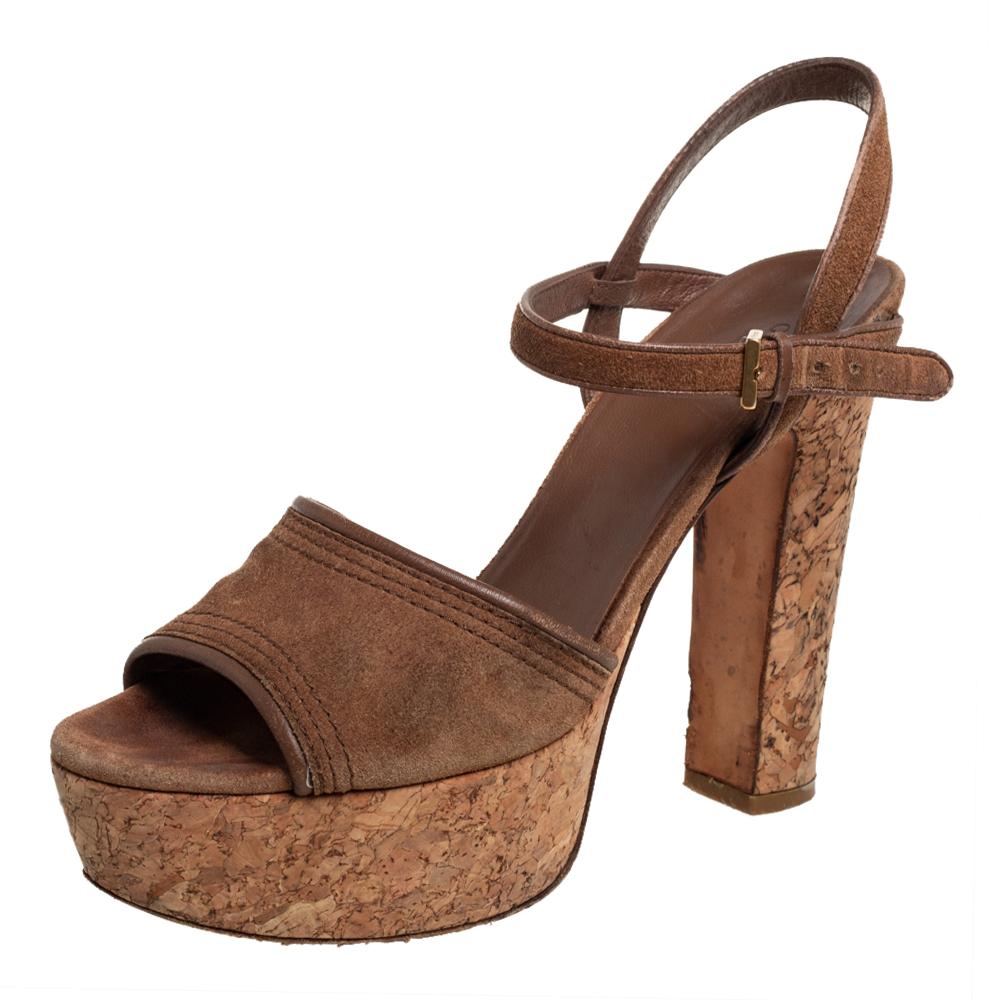 Pre-owned Gucci Brown Suede Danielle Cork Platform Sandals Size 38.5