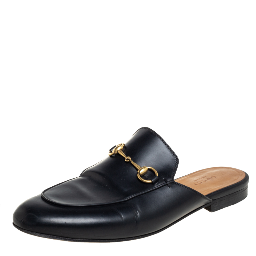 Pre-owned Gucci Black Leather Princetown Horsebit Mules Size 39