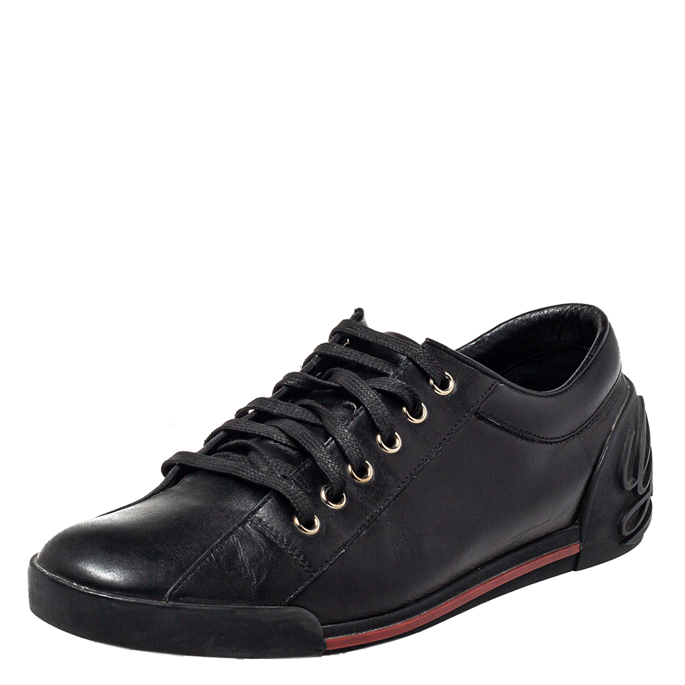 Pre-owned Gucci Black Leather Low Top Sneakers Size 39