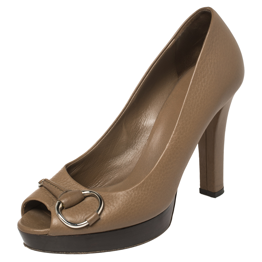 Pre-owned Gucci Brown Leather Icon Bit Platform Peep Toe Pump Size 37