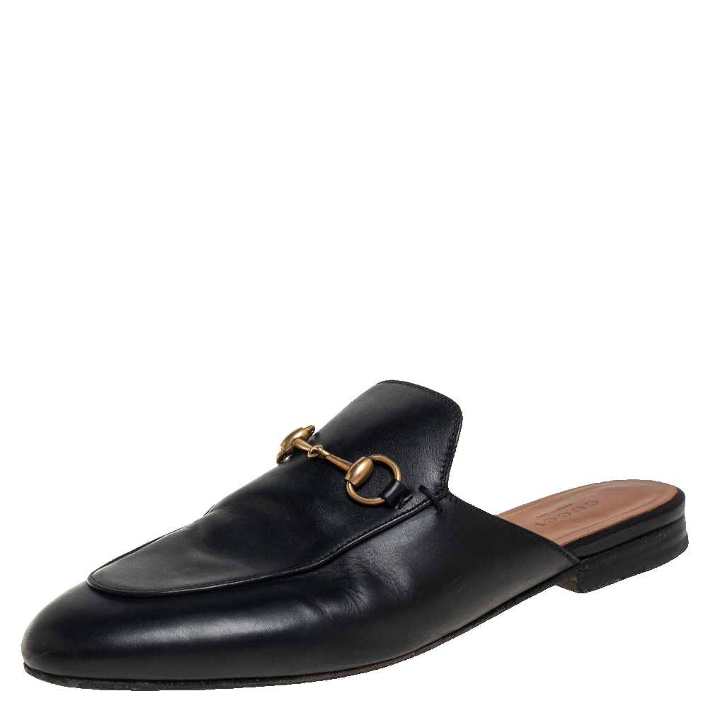 Pre-owned Gucci Black Leather Princetown Mules Size 39
