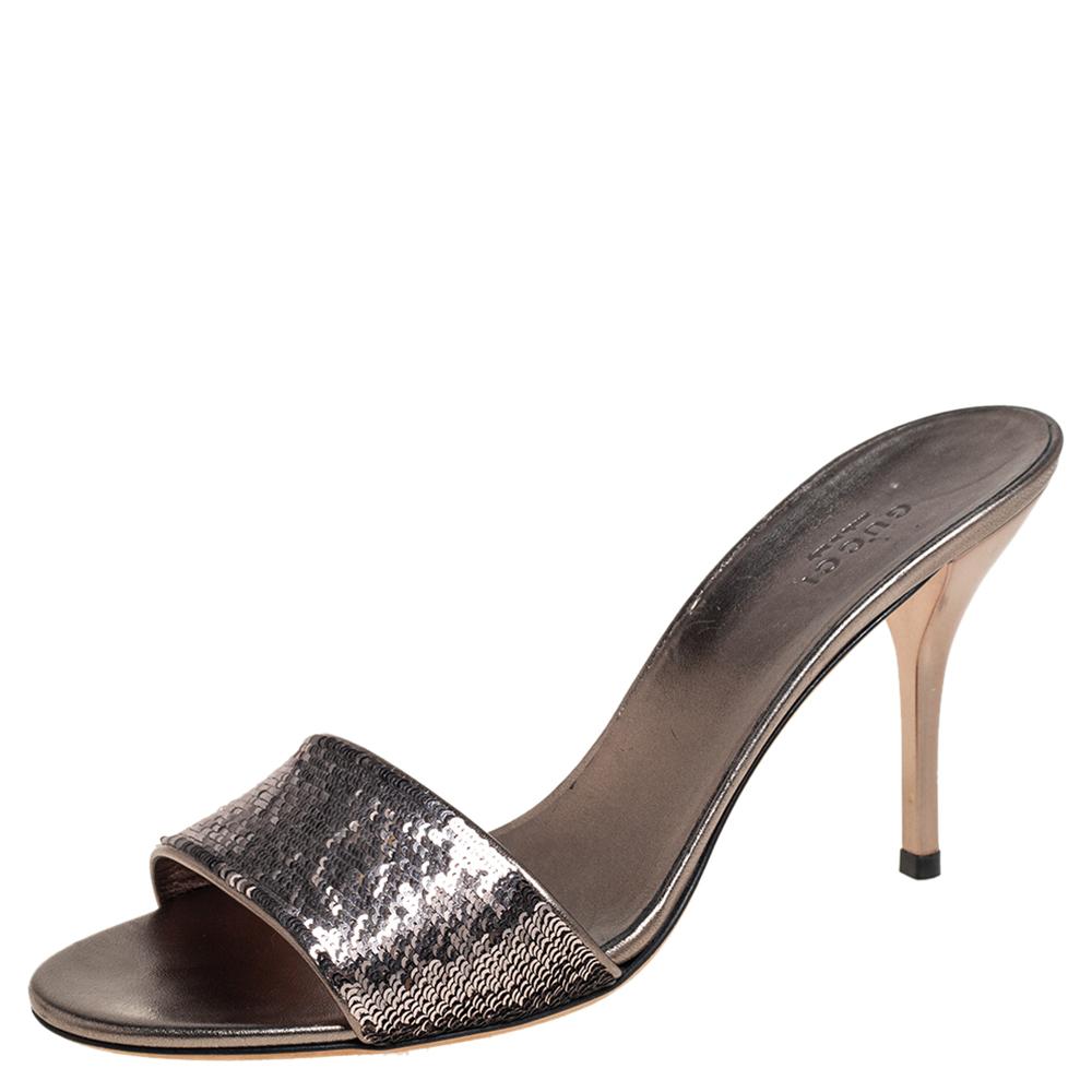 Pre-owned Gucci Metallic Gunmetal Sequin Embellished Slide Sandals Size 40