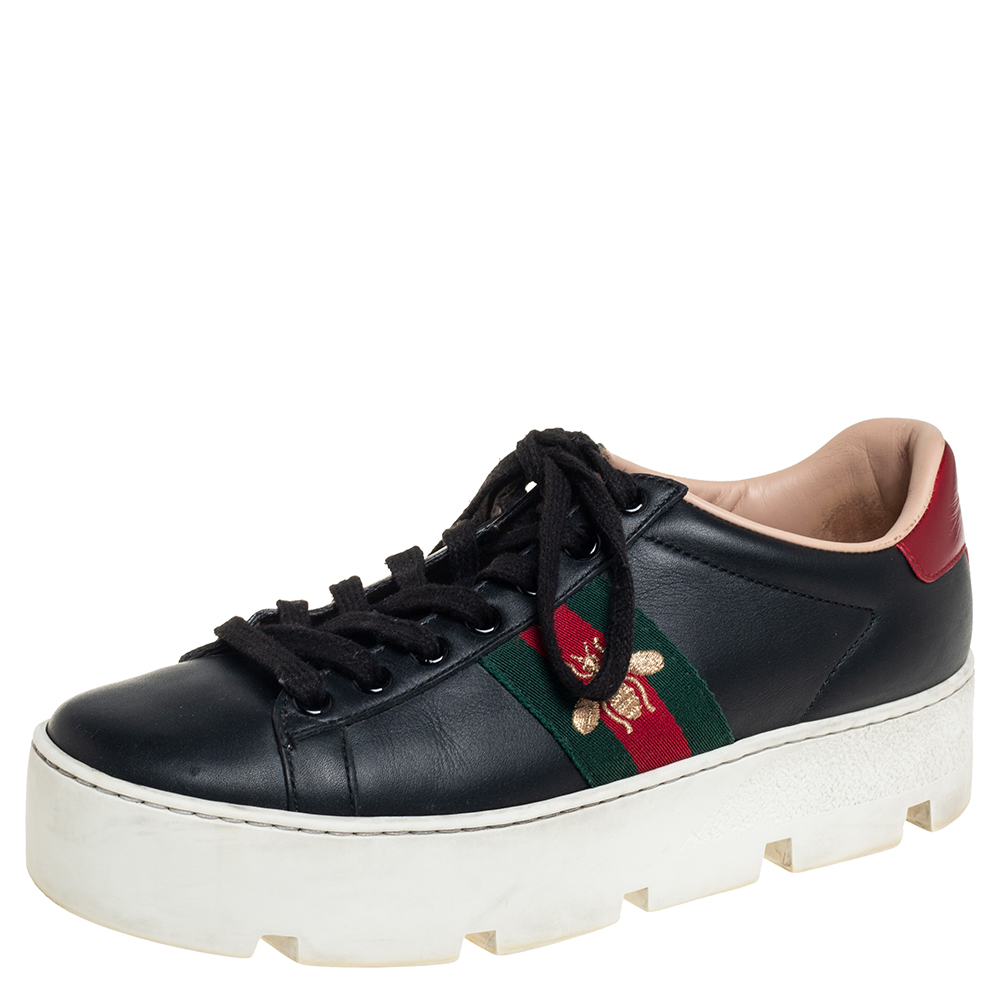 Pre-owned Gucci Black Leather Ace Platform Sneakers Size 37
