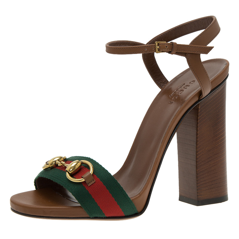 92e2afb2635e Buy Gucci Brown Leather Horsebit Web Stripe Detail Ankle Strap Sandals Size  37 45838 at best price
