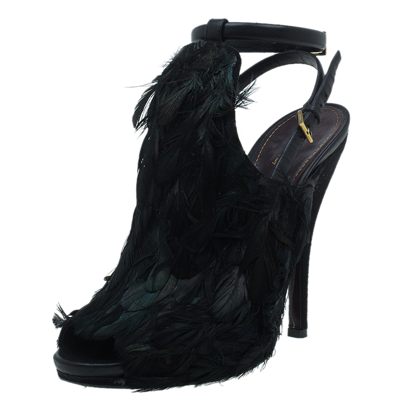 30a02a7f50c Buy Gucci Dark Green Feathers and Suede Jane Peep Toe Booties Size ...