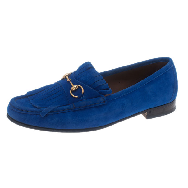 38cb21bd71c Buy Gucci Blue Suede Fringe Loafers Size 39.5 5997 at best price