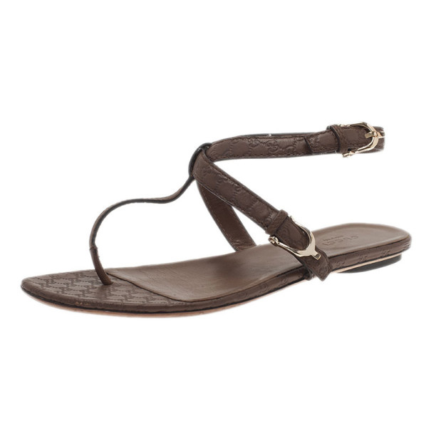 892033358ae8 Buy Gucci Brown GG Leather Thong Sandals Size 39 6389 at best price ...
