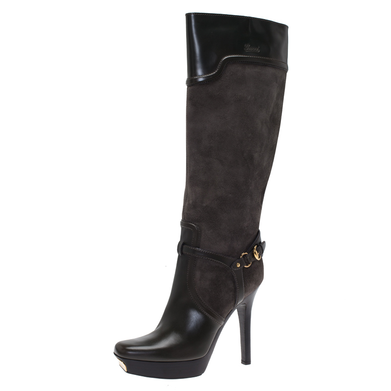ae61182a6b Buy Gucci Grey Suede and Leather Platform Knee Boots Size 40 73750 at best  price | TLC
