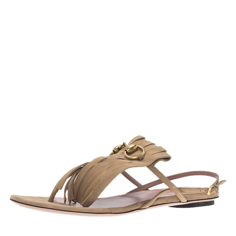 439a85a85178 Buy Gucci Beige Suede Becky Horsebit Fringe Thong Sandals Size 37.5 84045  at best price