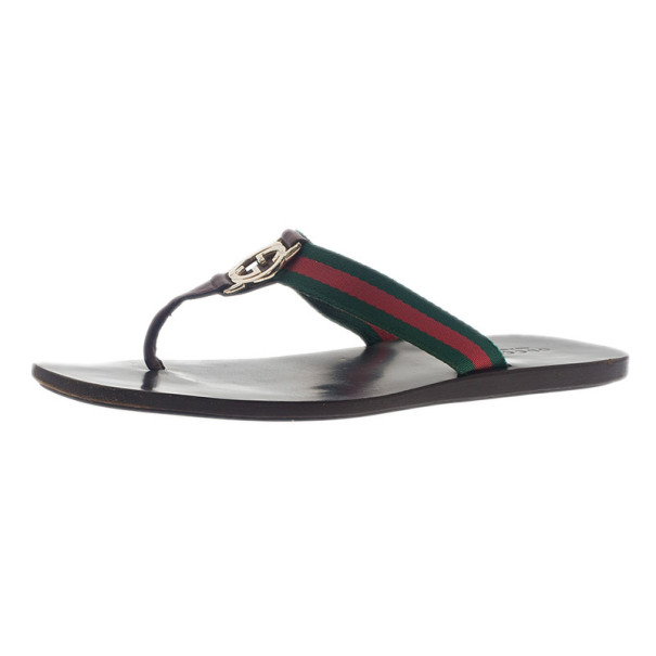 302cd36e3d21 Buy Gucci  GG  Thong Web Detail Sandals With Double  G  Ornament ...