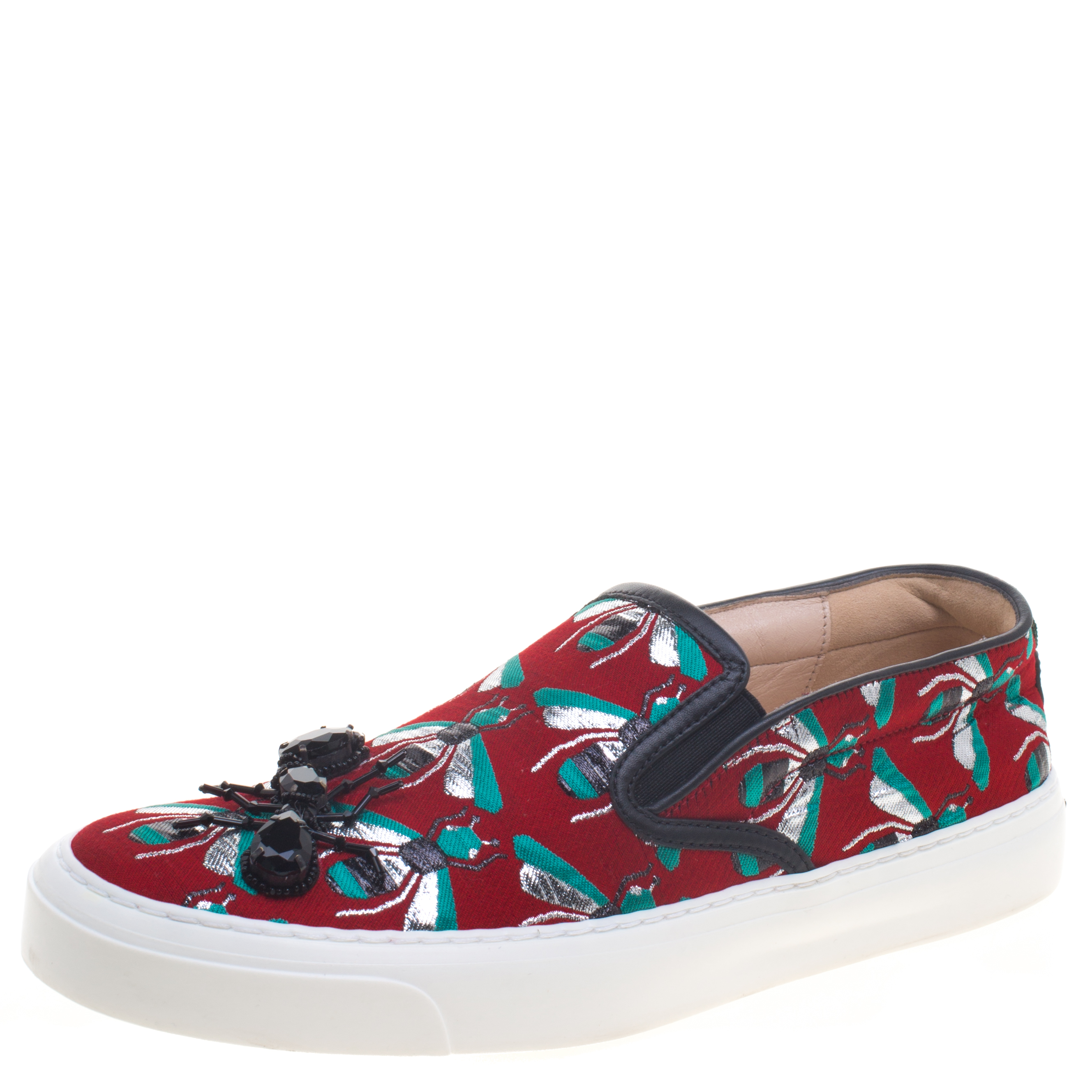 15b3d784a75 ... Gucci Red Bee Jacquard Fabric Ant Embellished Slip On Sneakers Size  38.5. nextprev. prevnext