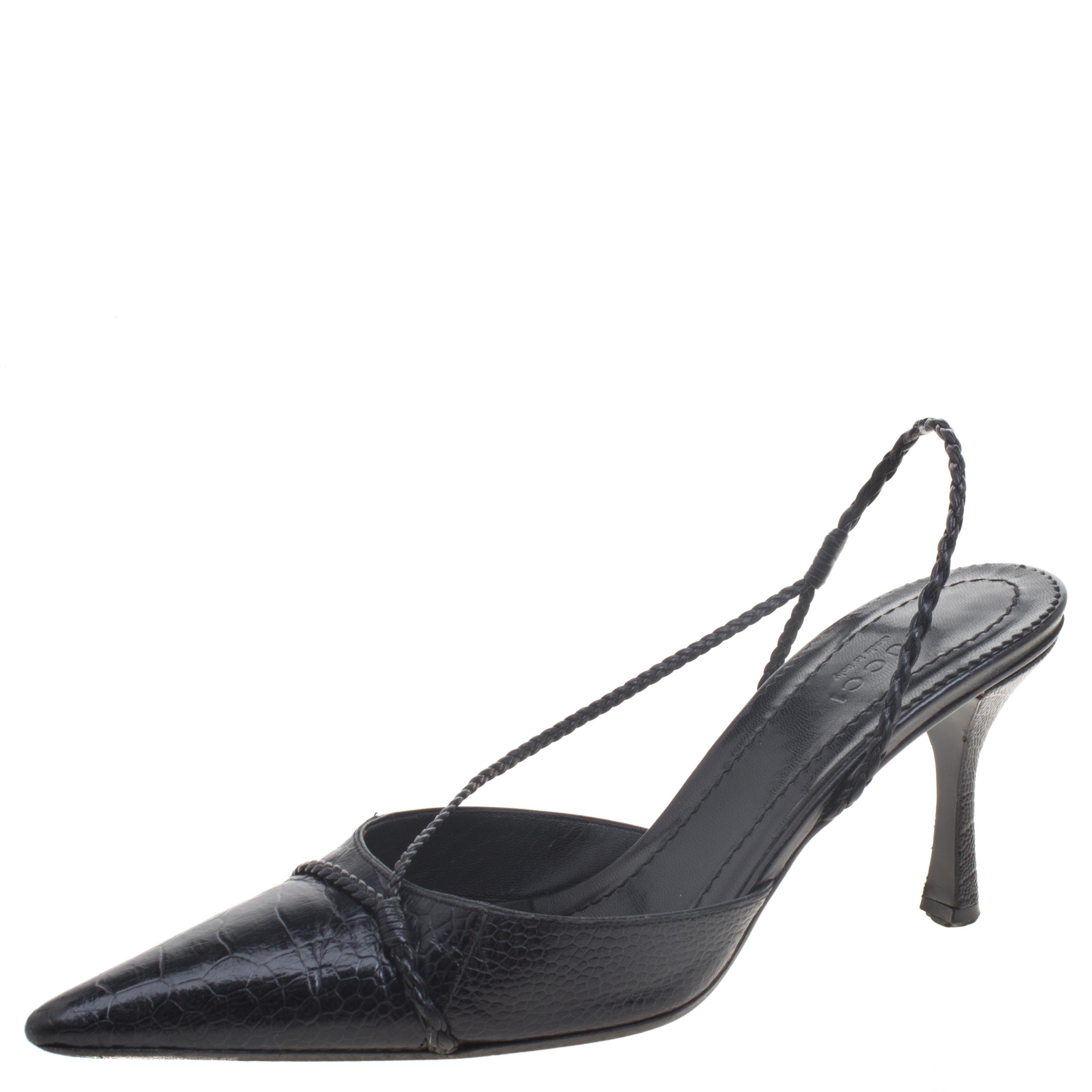 8c5e712e8 Buy Gucci Black Snake Embossed Leather Braided Slingback Sandals ...