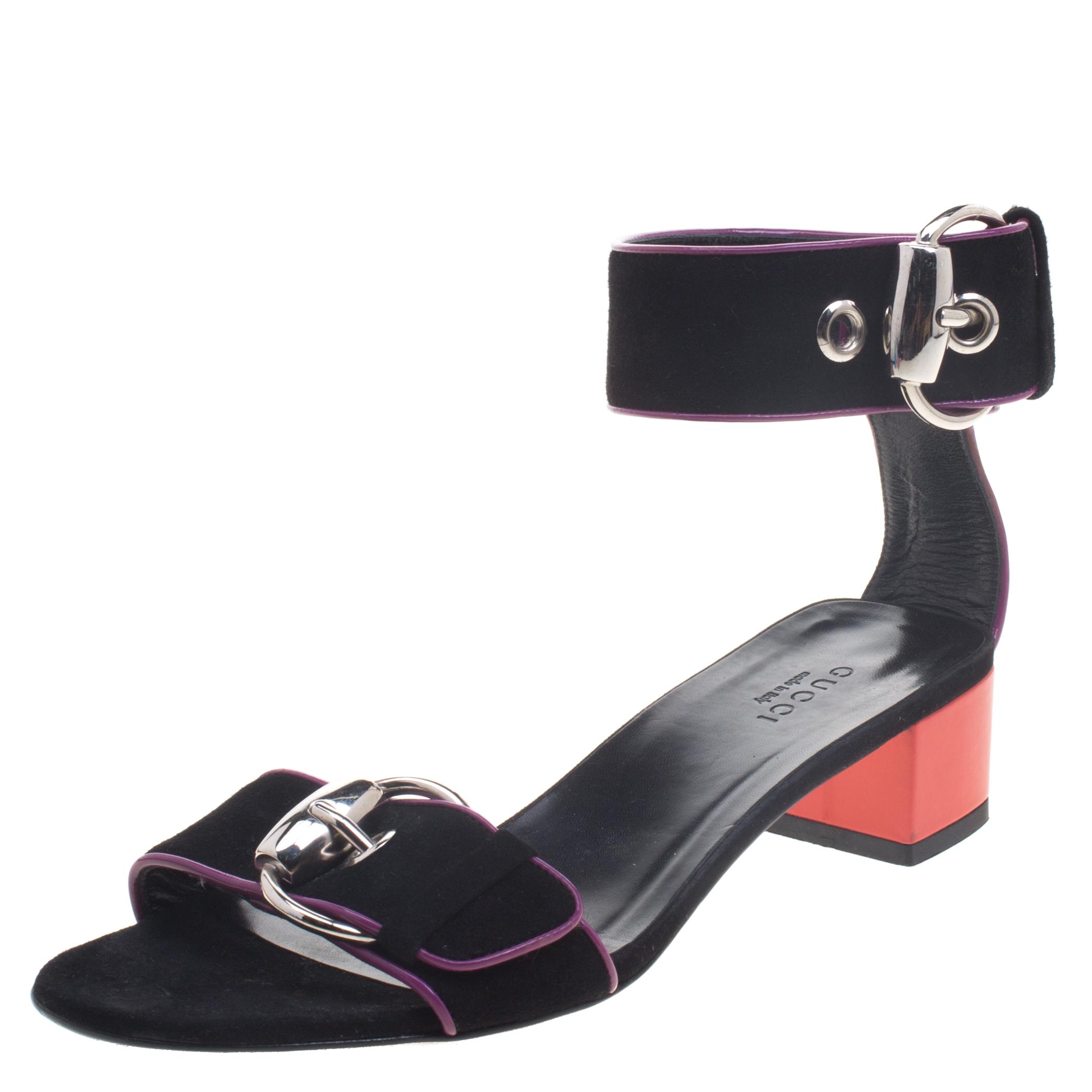 500bb0c3ed90d Buy Gucci Black Suede Horsebit Buckle Ankle Strap Block Heel Sandals ...
