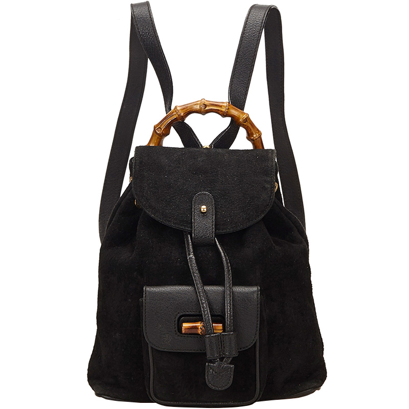 b6f51f266 ... Gucci Black Suede and Leather Mini Bamboo Handle Backpack Bag.  nextprev. prevnext
