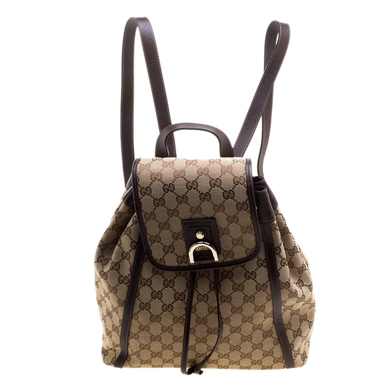 842c3e158 Buy Gucci Beige/Ebony GG Canvas Abbey Backpack 120800 at best price ...