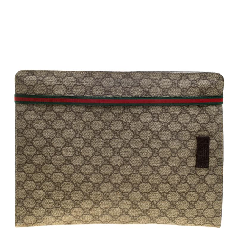 half off 6e0f1 85720 Gucci Beige GG Supreme Canvas Portfolio Document Case
