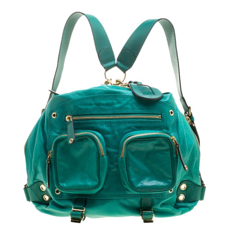 Купить со скидкой Gucci Green Leather Medium Darwin Convertible Backpack Bag