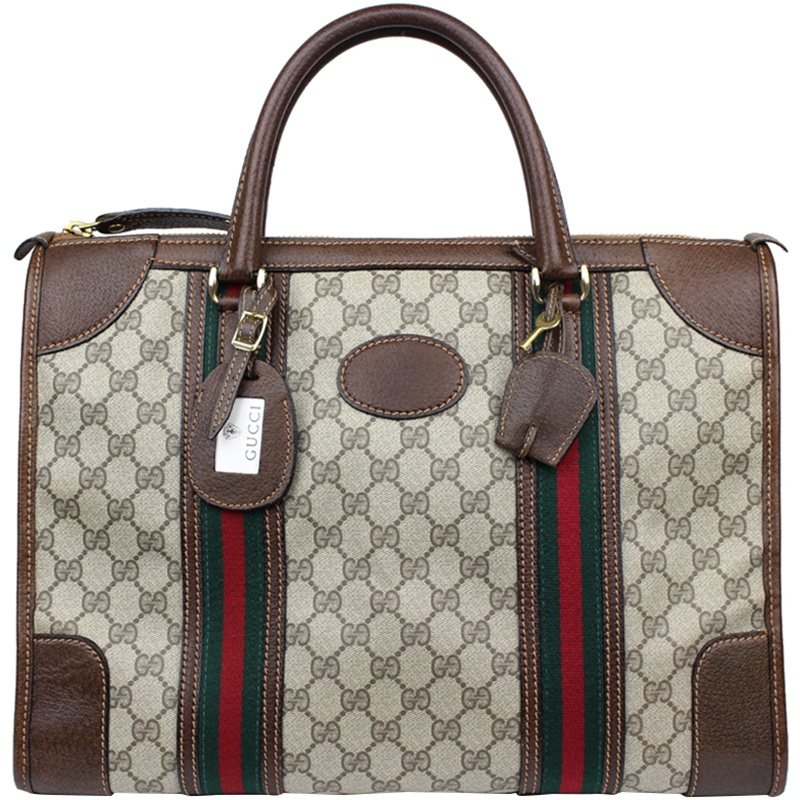 d6e55d6bff6 Buy Gucci Beige Ebony GG Coated Canvas and Leather Briefcase 156295 ...