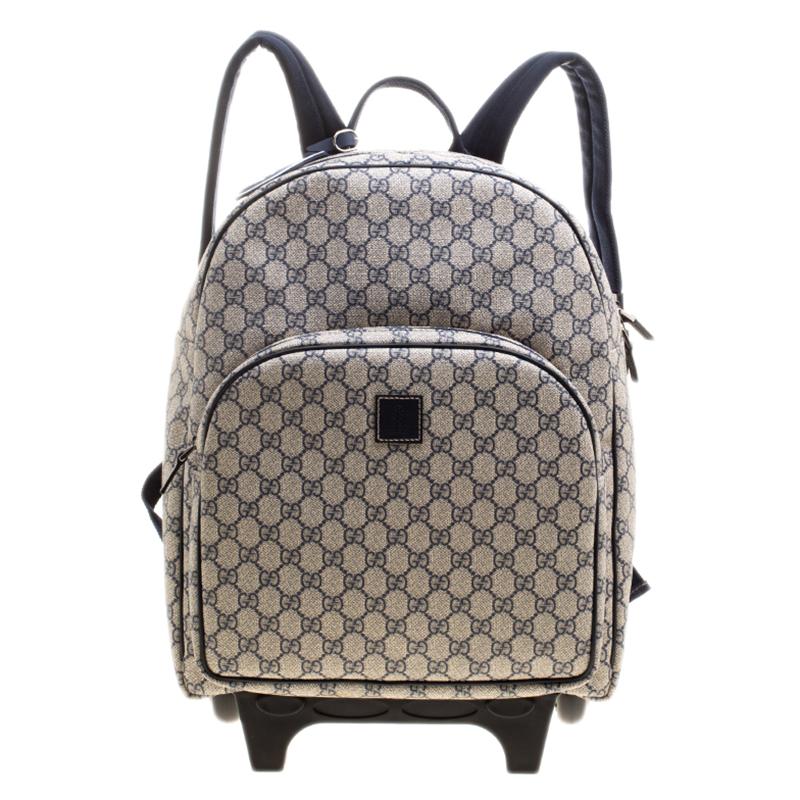 Купить со скидкой Gucci Beige/Blue GG Supreme Canvas Trolley Backpack Bag