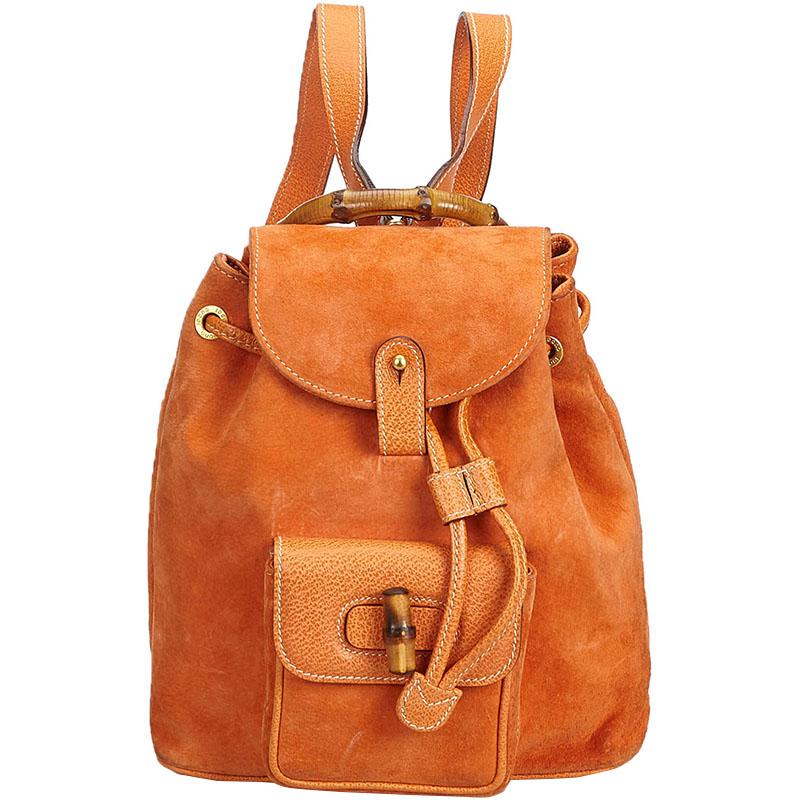 fb59f239c65 ... Gucci Orange Bamboo Suede Leather Drawstring Backpack. nextprev.  prevnext