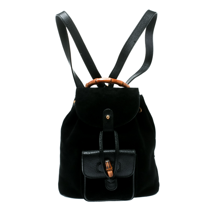 c357b8d4ae154 ... Gucci Black Suede and Leather Mini Bamboo Handle Backpack Bag.  nextprev. prevnext