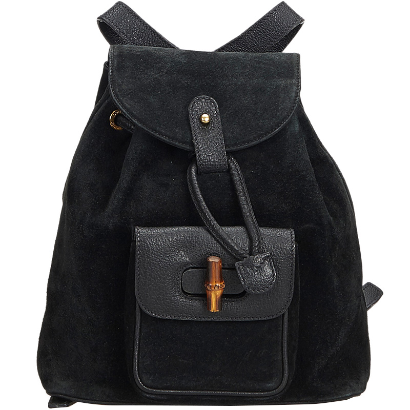 a20c2ce0515e ... Gucci Black Bamboo Suede Leather Drawstring Backpack. nextprev. prevnext