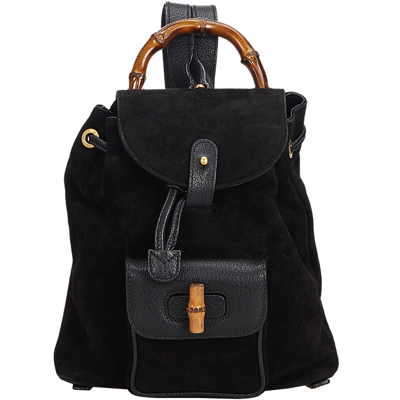 de909f290c72 ... Gucci Black Bamboo Suede Leather Drawstring Backpack. nextprev. prevnext