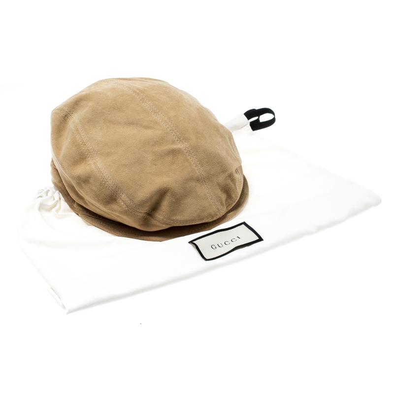 Nouvelles Arrivées vente professionnelle différemment Gucci Beige Suede Large Beret Hat Size M