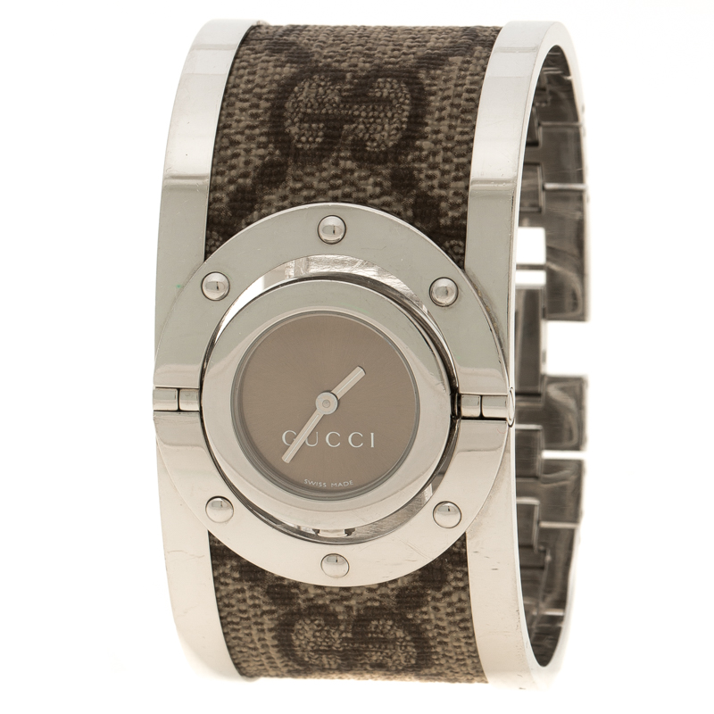 4f0ff803c65 Buy Gucci Twirl Brown Stainless Steel GG Supreme Print Canvas Bangle ...