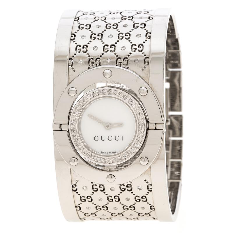e2b94b99104 Buy Gucci White Diamond Stainless Steel Twirl Women s Wristwatch 23 ...