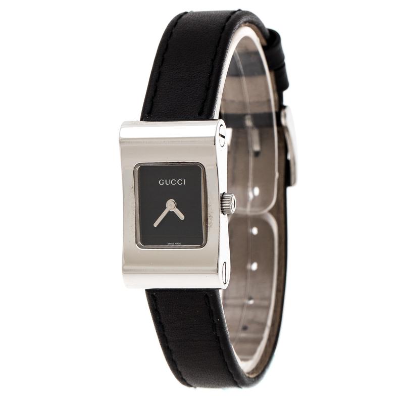 Gucci Black Stainless Steel 2300L Women's Wristwatch 17 mm