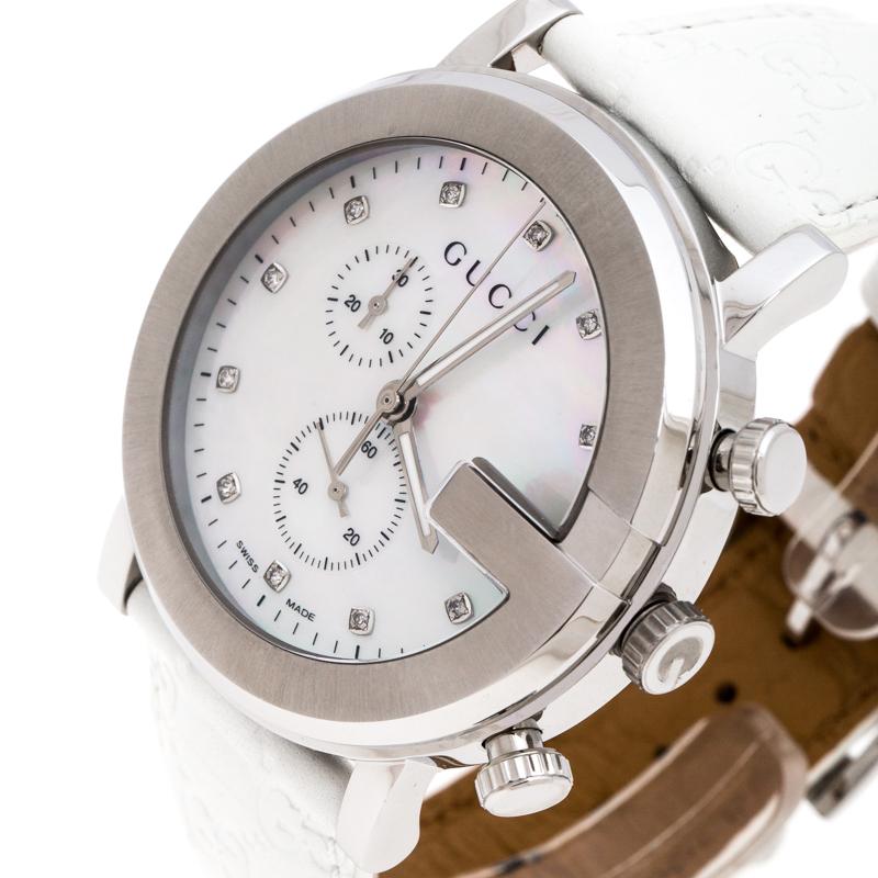 Gucci la Mère de la Perle en Acier Inoxydable G-Chrono 101M de Femmes montre-Bracelet de 44 mm