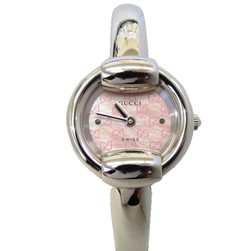 Gucci Pink MOP GG Canvas Stainless Steel Watch 1400L Bangle Quartz Analog Women's Wristwatch 25MM