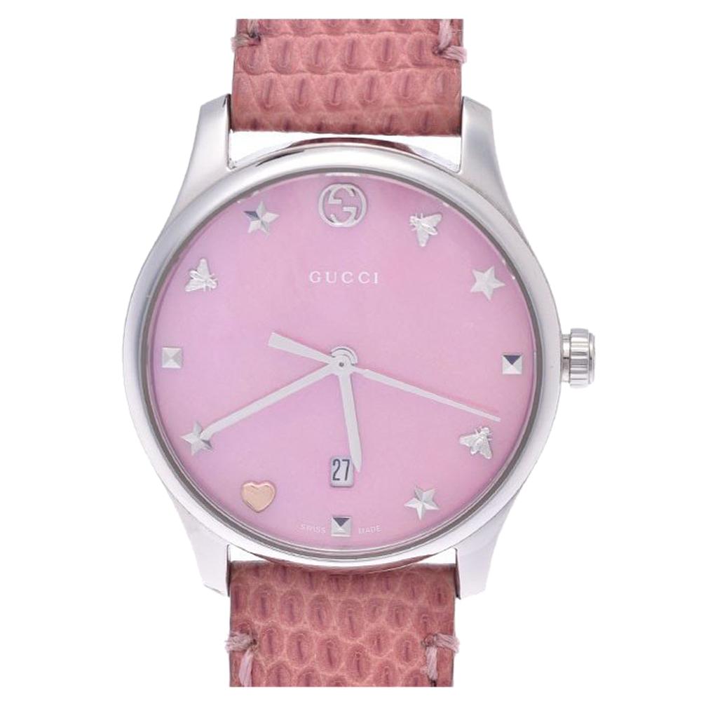 Gucci Pink MOP Stainless Steel G Timeless 126.5 Women's Wristwatch 28 MM