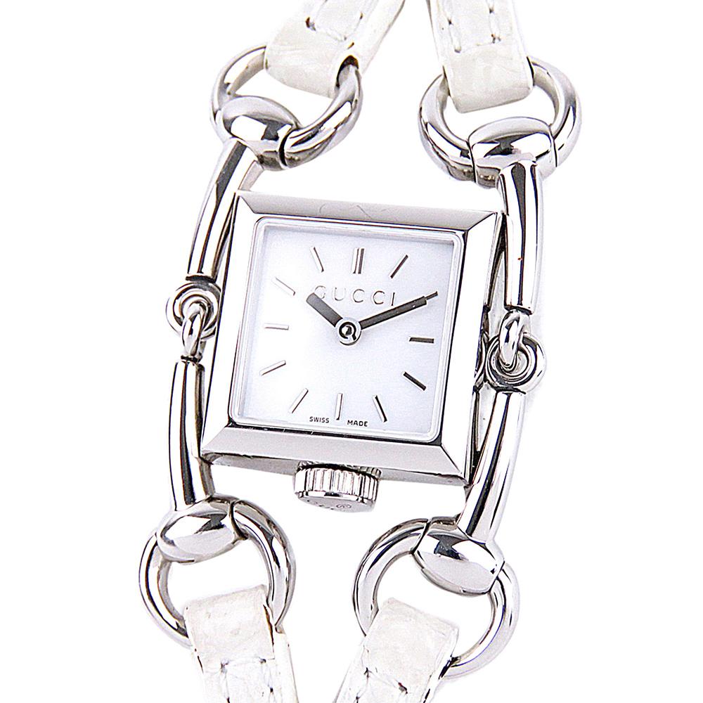 Gucci White Stainless Steel Signoria Women's Wristwatch 20 MM