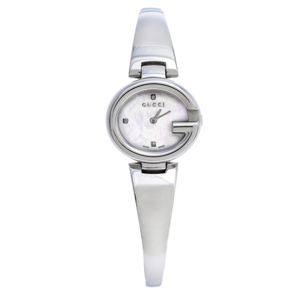 Gucci Mother Of Pearl Stainless Steel Guccissima 134.5 Women's Wristwatch 27 mm