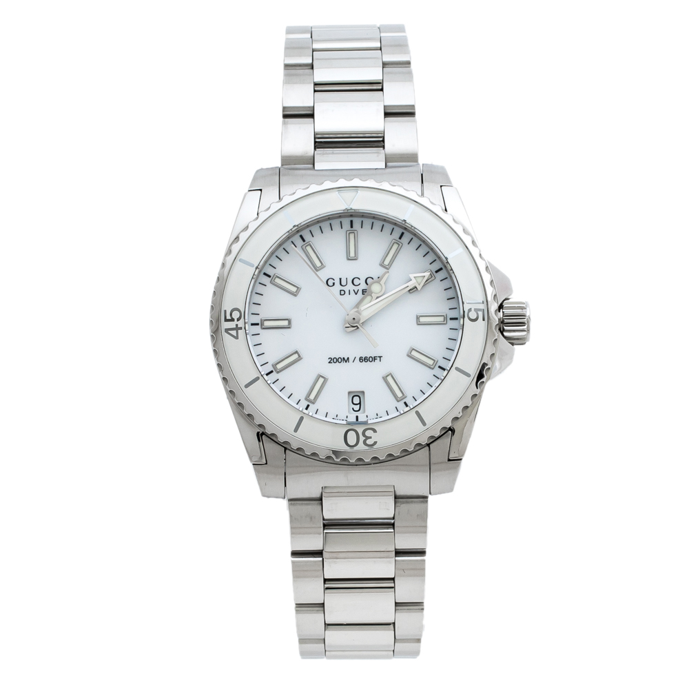 Gucci White Stainless Steel Dive 136.4 Women's Wriswatch 32 mm