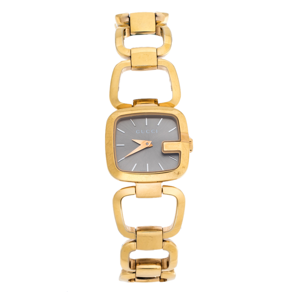 Gucci Brown Gold Plated Steel G Series 125.5 Women's Wristwatch 24 mm