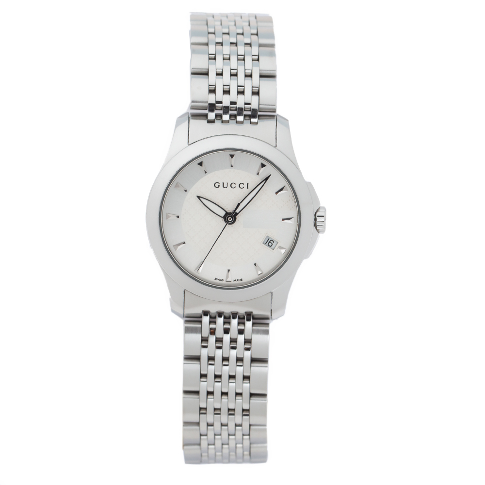 Gucci Silver White Stainless Steel G-Timeless 126.5 Women's Wristwatch 27 mm